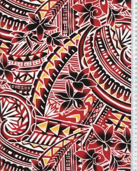 Tissu Polynésien MANOA Rouge - Tissushop