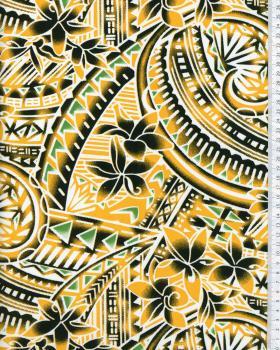 Tissu Polynésien MANOA Jaune - Tissushop