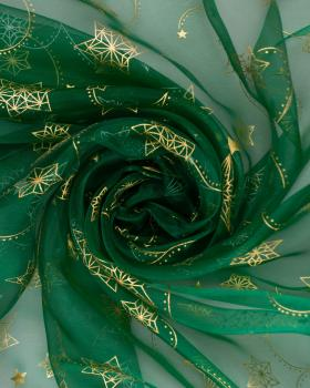 Organza Étoile Filante Vert - Tissushop