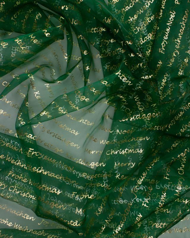 Organza Merry Christmas Vert - Tissushop