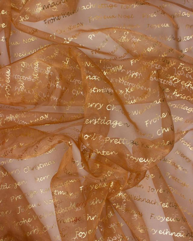 Organza Merry Christmas Cuivre - Tissushop