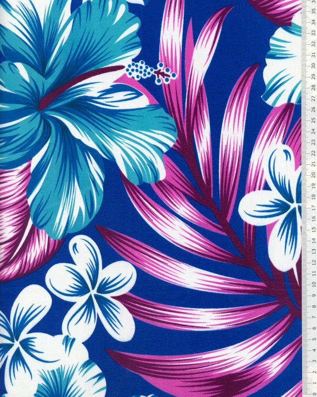 Tissu Polynésien AVERA Bleu - Tissushop