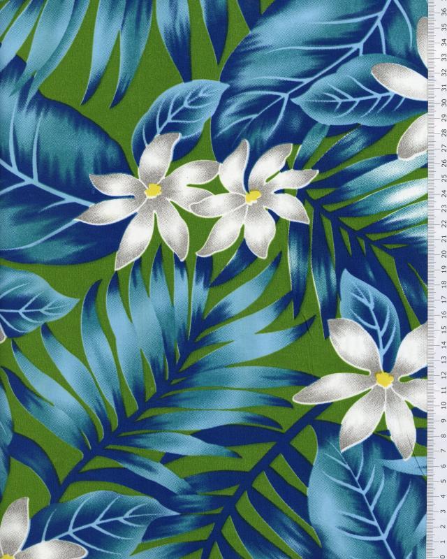 Tissu Polynésien ANAPA Bleu Turquoise - Tissushop