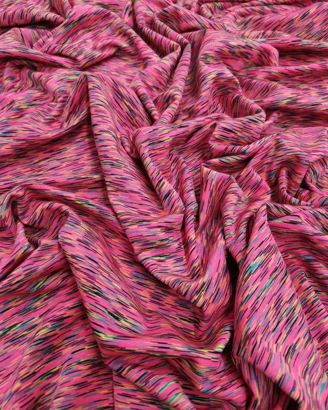 Jersey stretch Abstrait Rose Fluo - Tissushop