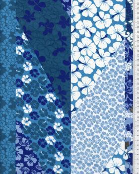 Tissu Polynésien PATCHWORK FLEURS Bleu - Tissushop