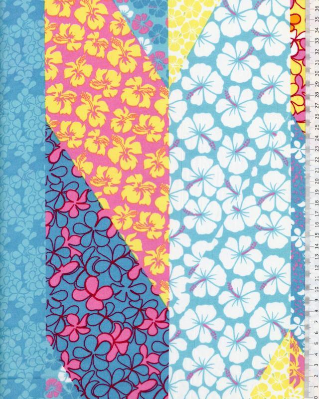 Tissu Polynésien PATCHWORK FLEURS Bleu Turquoise - Tissushop