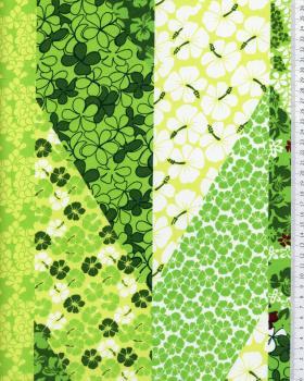 Tissu Polynésien PATCHWORK FLEURS Vert - Tissushop