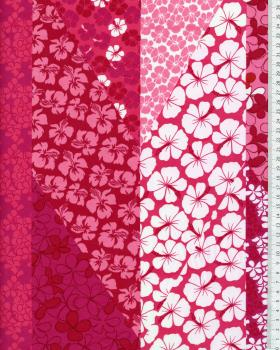 Polynesian Fabric PATCHWORK FLEURS Pink - Tissushop