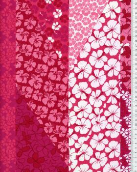 Tissu Polynésien PATCHWORK FLEURS Rose - Tissushop