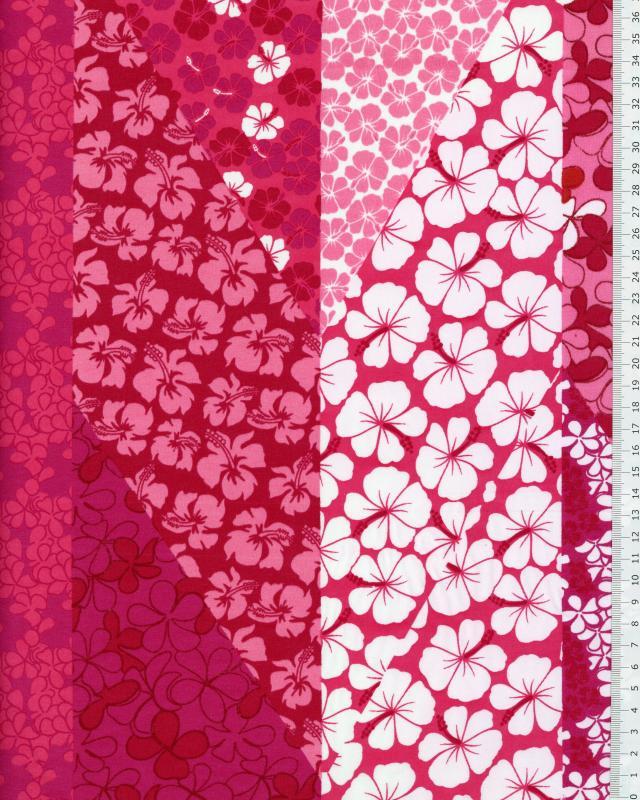 Polynesian Fabric PATCHWORK FLEURS Pink - Tissushop