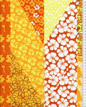 Polynesian Fabric PATCHWORK FLEURS Yellow - Tissushop