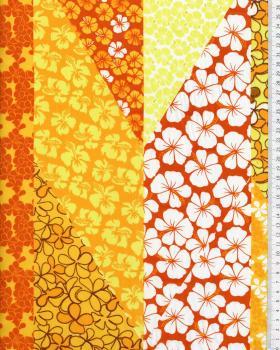 Tissu Polynésien PATCHWORK FLEURS Jaune - Tissushop