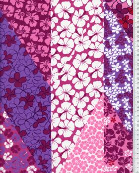 Tissu Polynésien PATCHWORK FLEURS Violet - Tissushop