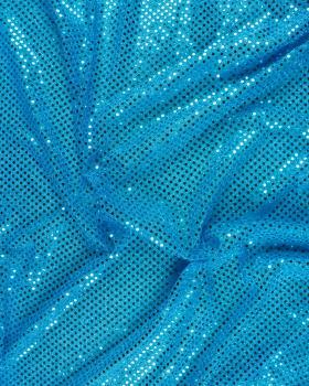Tissu à Paillettes Rondes Serrées Bleu Turquoise - Tissushop