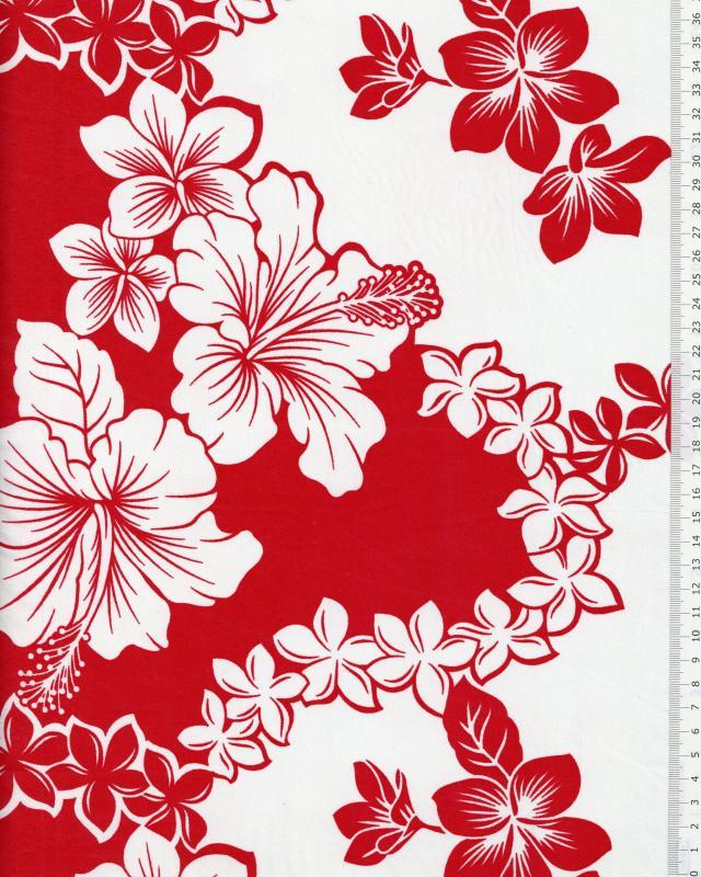 Tissu Polynésien TIARE HIBISCUS Rouge - Tissushop
