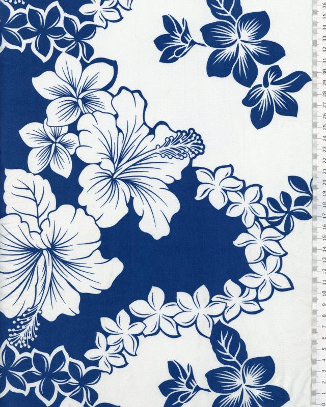 Tissu Polynésien TIARE HIBISCUS Bleu - Tissushop