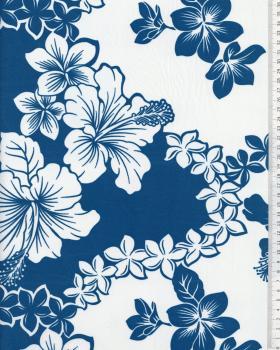 Tissu Polynésien TIARE HIBISCUS Bleu Turquoise - Tissushop