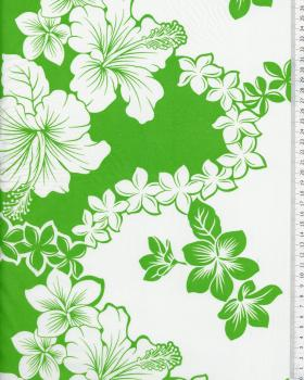 Tissu Polynésien TIARE HIBISCUS Vert - Tissushop