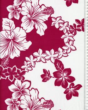 Tissu Polynésien TIARE HIBISCUS Violet - Tissushop