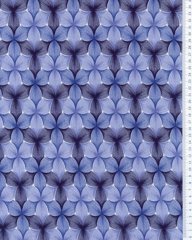 Viscose Fleurs Bleu - Tissushop