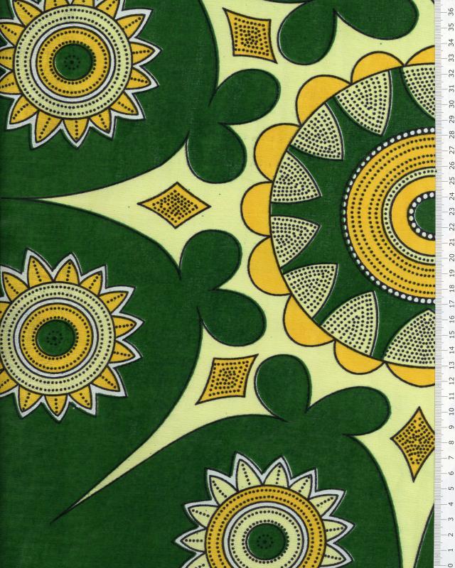 Véritable WAX - Tissu Africain Cotonou Vert - Tissushop