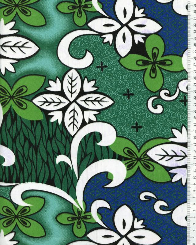 Tissu Polynésien ETETIERA Vert - Tissushop