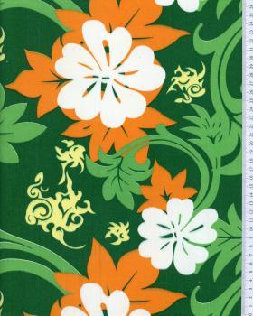 Tissu Polynésien MARUIA Vert - Tissushop