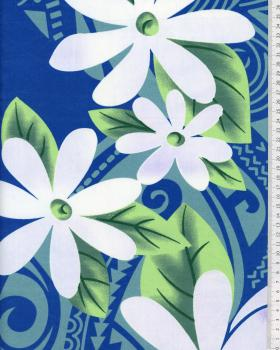 Tissu Polynésien POEMA Bleu - Tissushop