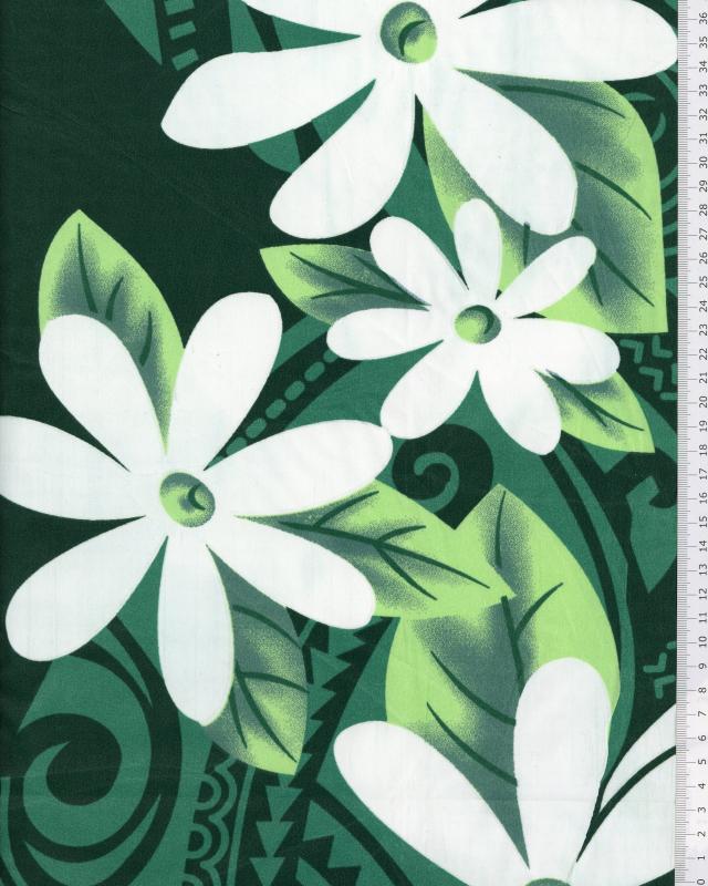 Tissu Polynésien POEMA Vert - Tissushop