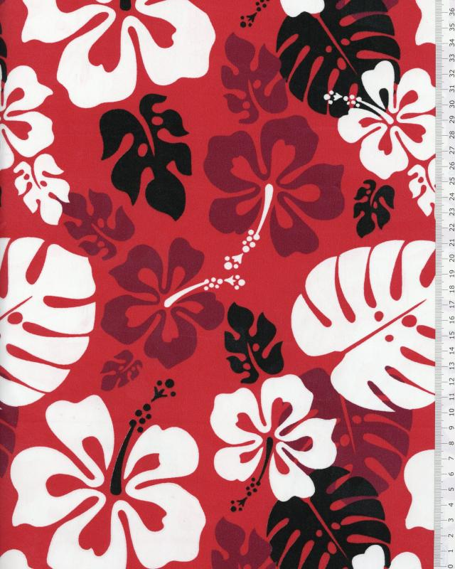 Polynesian Fabric RUITA Red - Tissushop