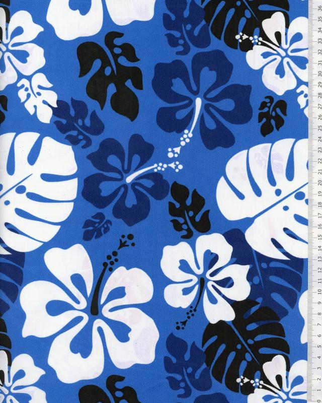 Tissu Polynésien RUITA Bleu - Tissushop