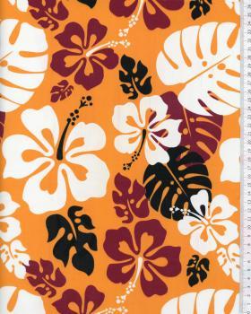 Tissu Polynésien RUITA Orange - Tissushop