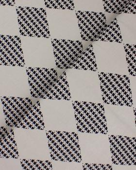 Jersey Losange Imprimé Pied de Poule Beige - Tissushop