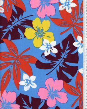 Tissu Polynésien HURA Bleu Turquoise - Tissushop