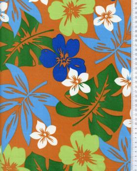Tissu Polynésien HURA Marron - Tissushop