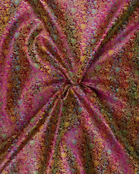 Satin jacquard flowers Red - Tissushop