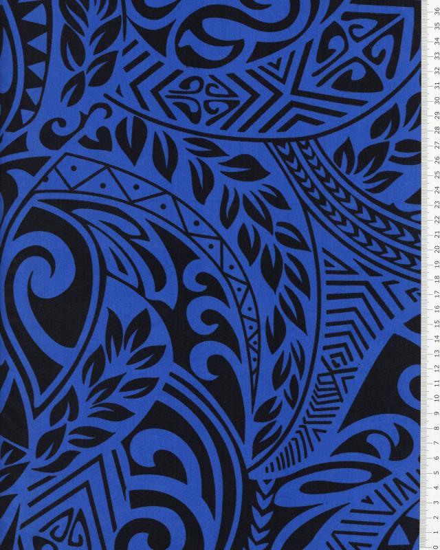 Tissu Polynésien MAUI Bleu - Tissushop