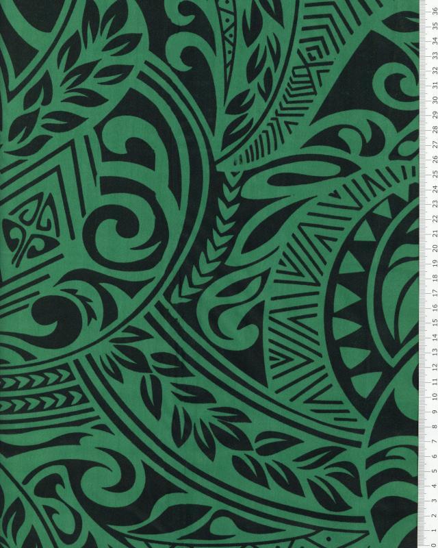 Tissu Polynésien MAUI Vert - Tissushop