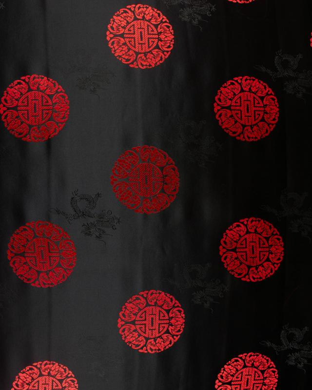 Satin jacquard rond chinois Noir - Tissushop