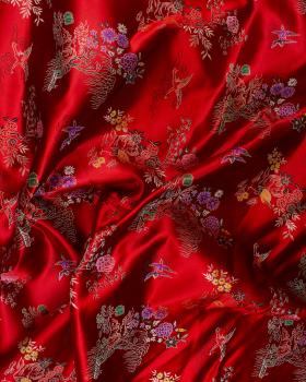 Satin jacquard nature asian Red - Tissushop