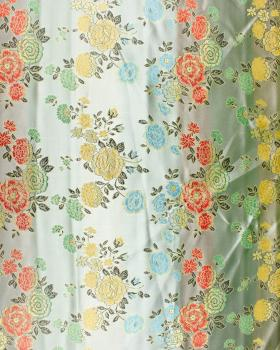 Satin jacquard twigs of flowers Pistachio Green - Tissushop