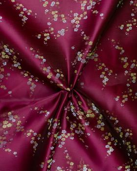 Satin jacquard small flowers Bordeaux - Tissushop
