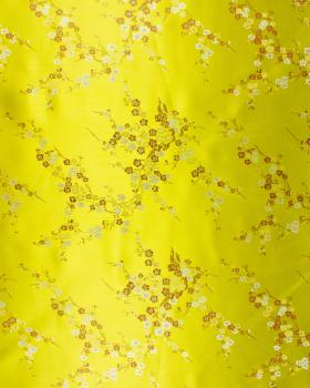 Satin jacquard petites fleurs Vert Spring - Tissushop