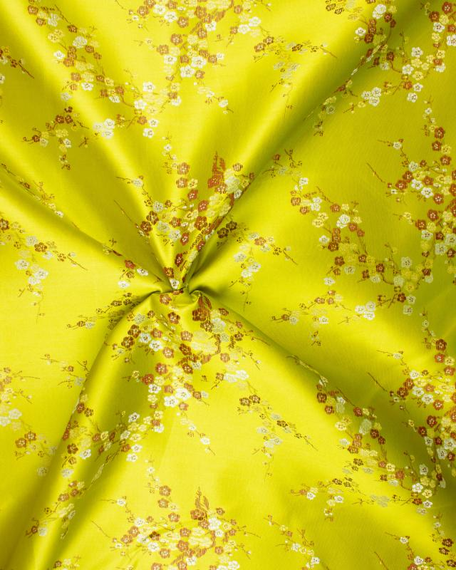 Satin jacquard small flowers Spring Green - Tissushop