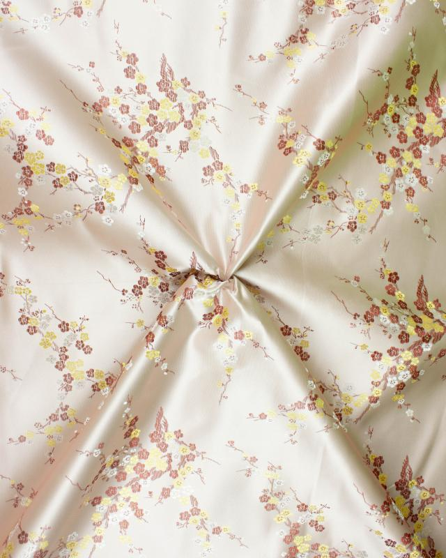 Satin jacquard small flowers Pink - Tissushop