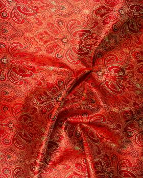 Indian paisley jacquard satin Red - Tissushop