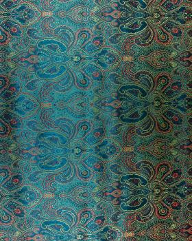 Indian paisley jacquard satin Dark Cyan - Tissushop