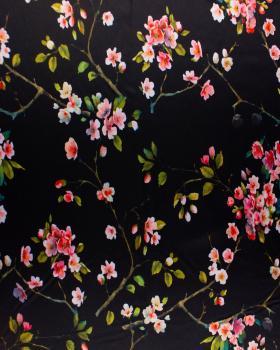 Satin imprimé fleurs sur Noir - Tissushop