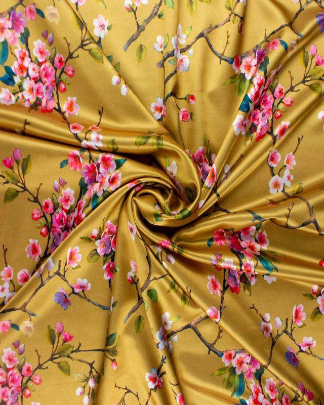Satin imprimé fleurs sur Doré - Tissushop