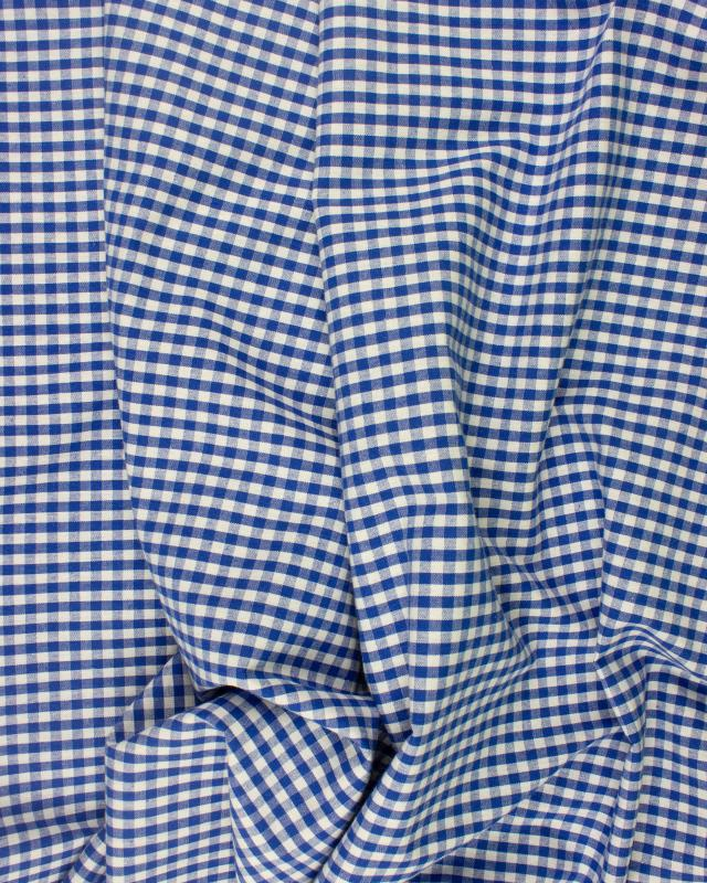 Vichy cotton small checkered Blue - Tissushop
